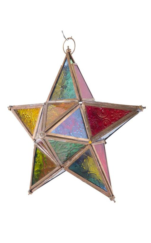 Moroccan Stained Glass Star Lantern