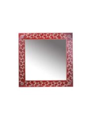 hand painted square wooden mirror
