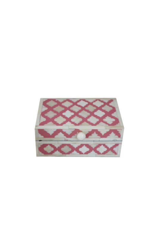 Bone Inlay Box Arabesque Design Pink