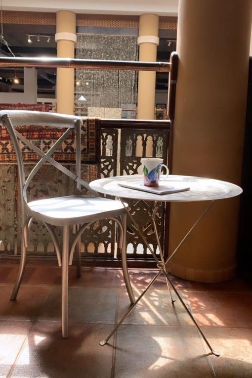 Metal Chair Silver Finish Simple Style