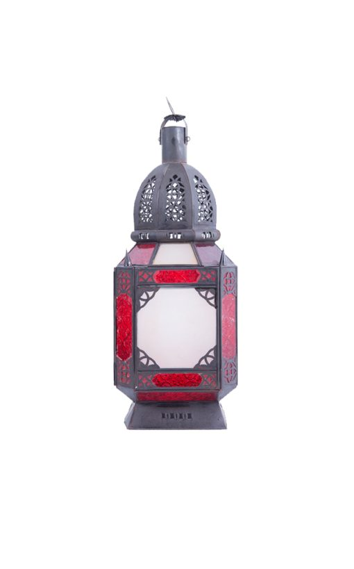 Moroccan Hanging Lamp Red Stained Glass