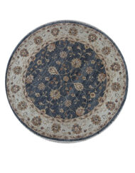 Hand Knotted Round Wool Carpet Floral Chobi Design