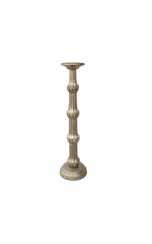 Silver Finish Wooden Candle Holder