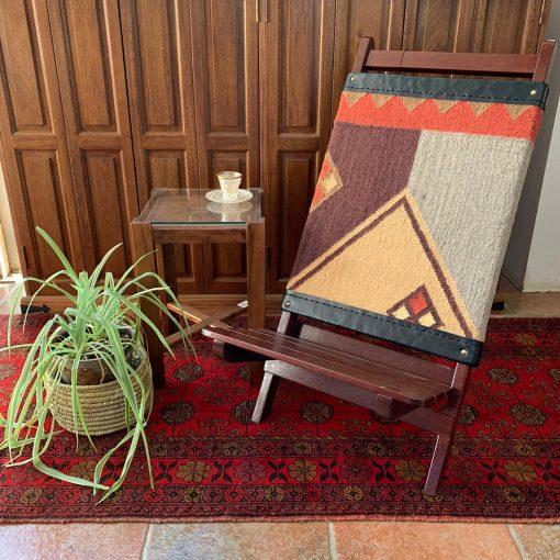 Azzeri Chair Kilm Handmade Custom Wooden Folding
