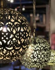Brass Hanging Round Filigree Cutwork Lamps
