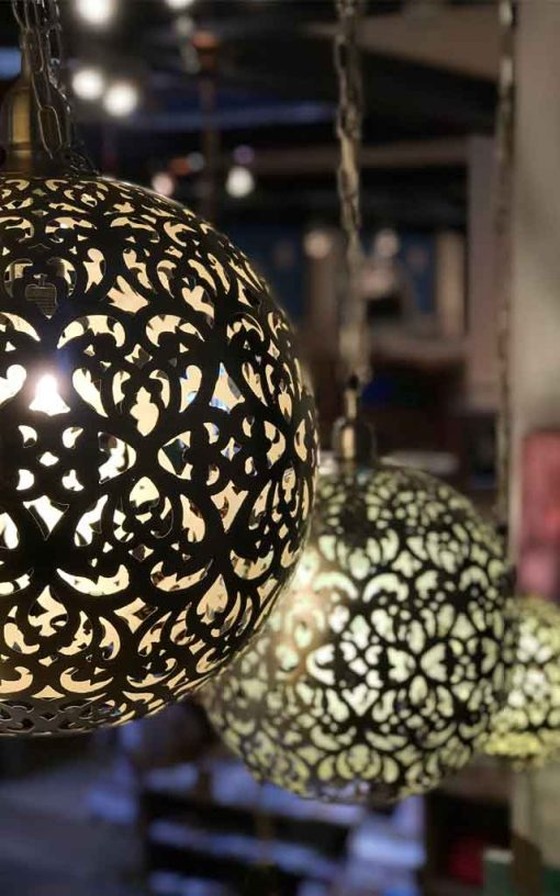 Brass Hanging Round Filigree Cutwork Lamps