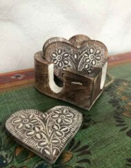 Coasters Heart Shape Hand Carved Wood
