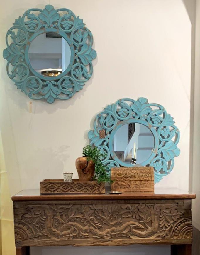 Carved Wood Round Mirror Aqua Finish, Carved Wooden Round Mirror