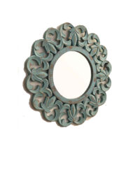 Carved Wood Round Mirror Aqua Finish