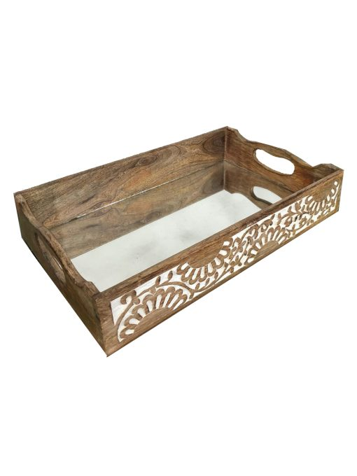 Decorative Wooden Tray Mirrored With Handles