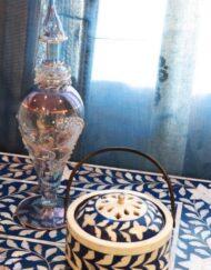 Bone Inlay Round Incense Burner, 'Mubkhara'