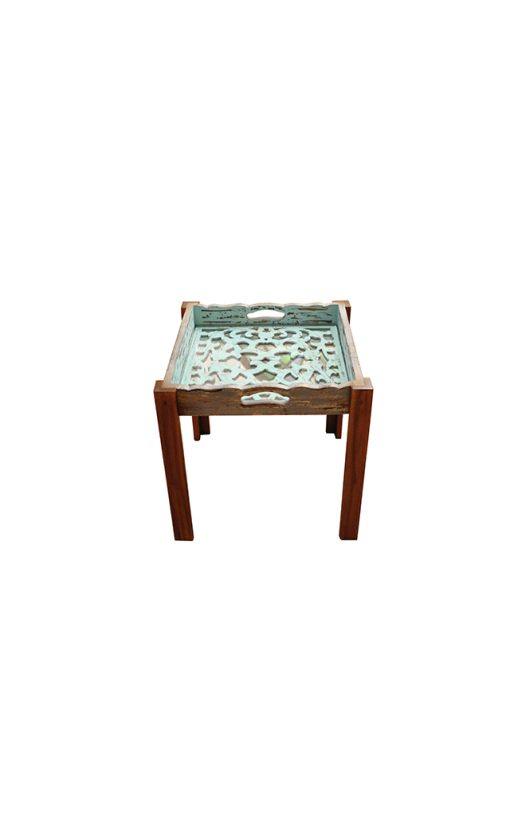 Tray Table Square Aqua Wood