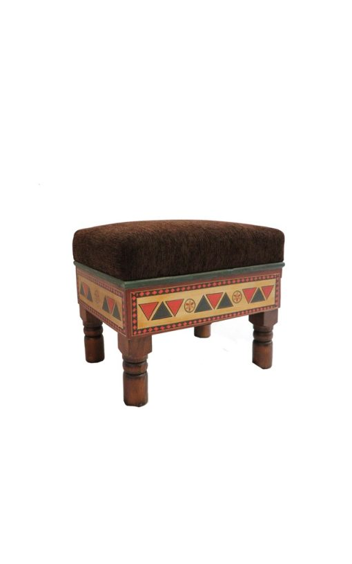Footstool Upholstered Hand Painted