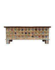 Brass Accent Tiled Chest Wooden