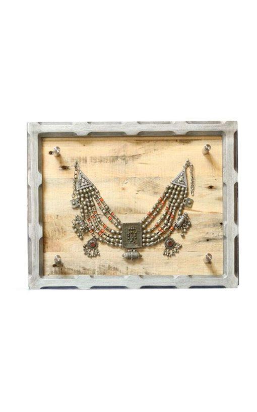 Framed Silver Necklace Natural Finish