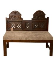 This Wooden Bench Antique Carved Back