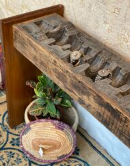 Wooden Glass Top Console Table