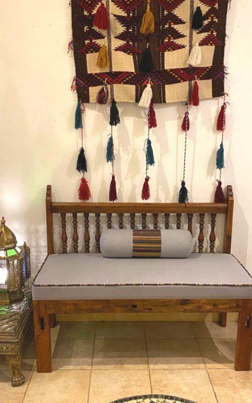 Custom Made Teakwood Bench Upholstered Cushion