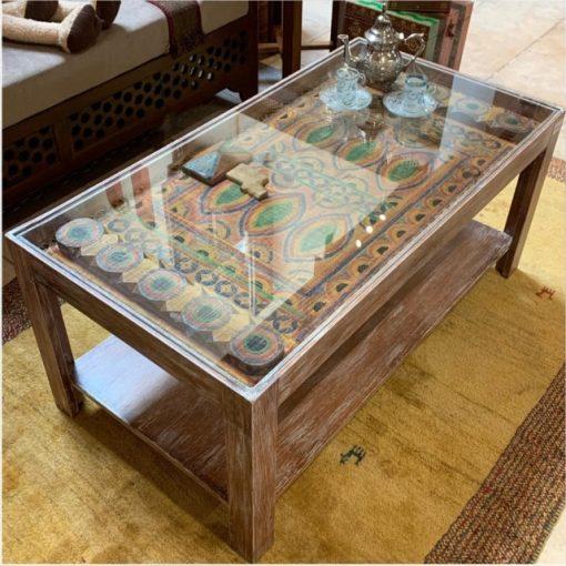 Saudi Door Coffee Table Glass Top