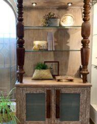 Antique Pillar Hutch Bookcase Wooden