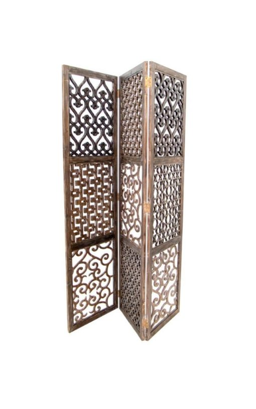Wooden 'Mashrabiya' Partition Three Carved Panels