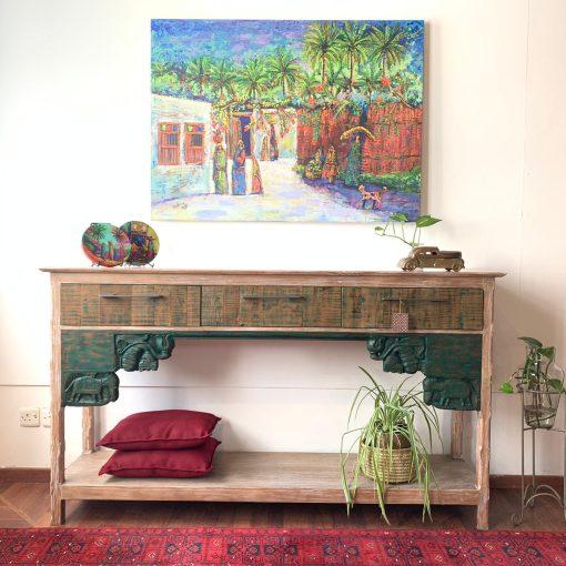 Green Architectural Antique Teak Wood Console