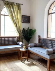 Recycled Teak Wood Bench Upholstered Cushion