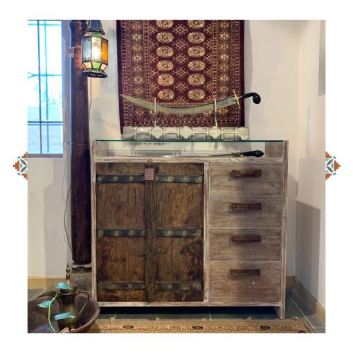 Antique teak wood window cabinet