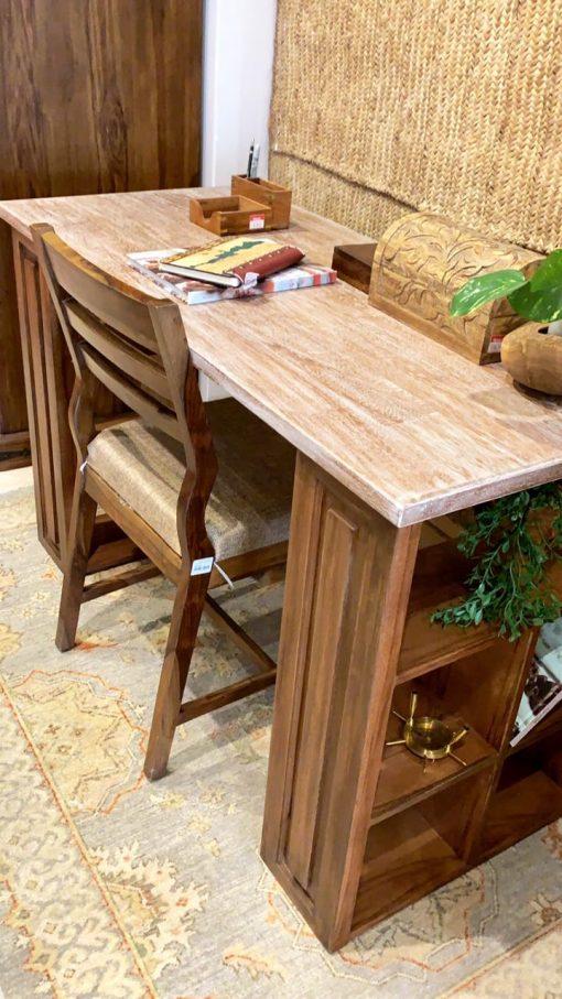 Home Office Desk Wood Open Storage