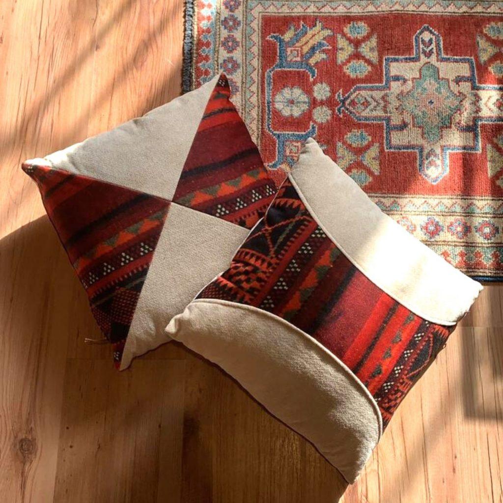 Handmade Chenille Pillow Sadu Pattern