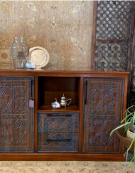 Blue Distressed Panels Cabinet
