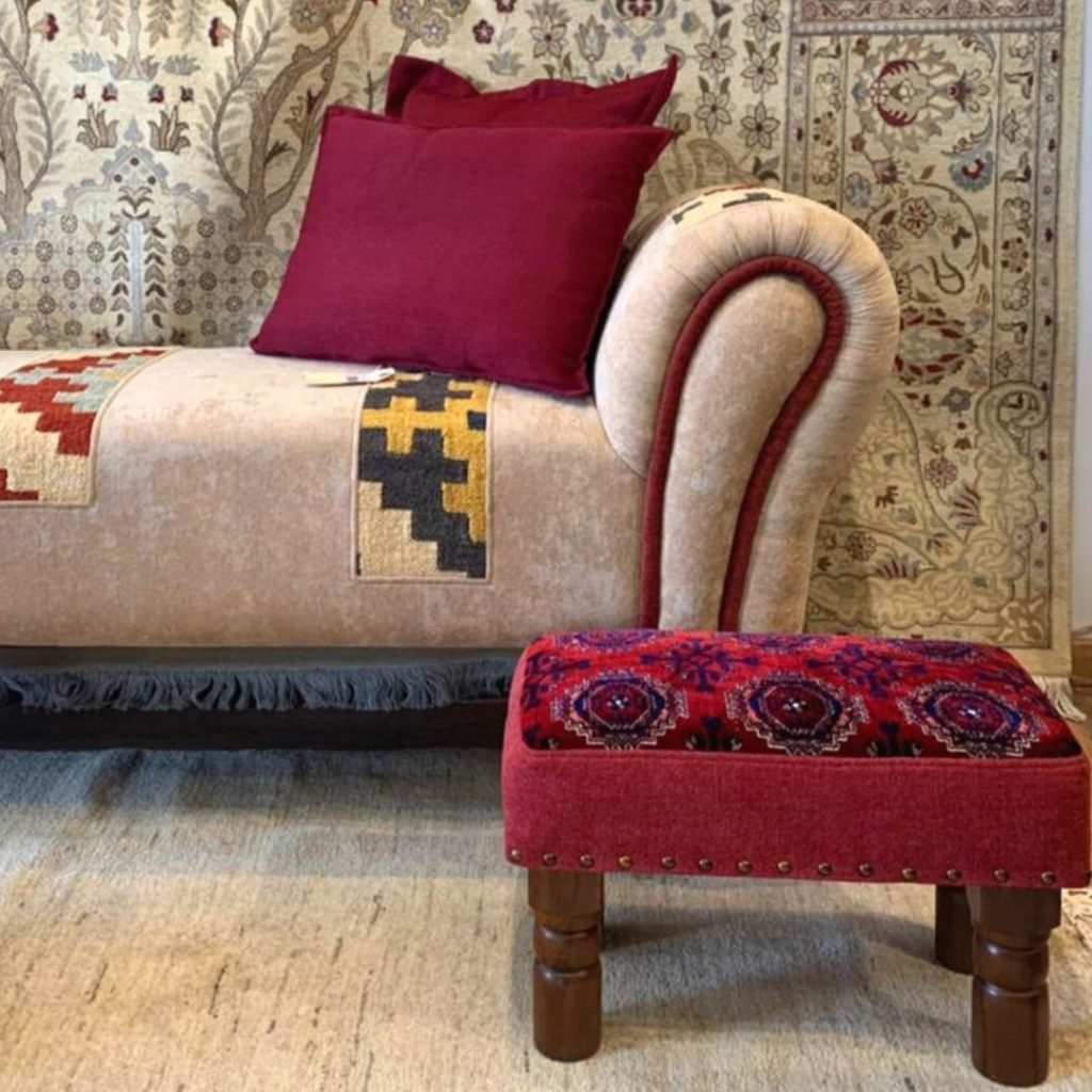 Kilim Patchwork Lounge Bench Upholstered