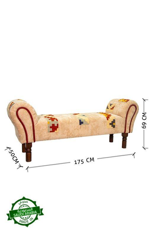 Kilim Patchwork Lounge Bench Upholstered