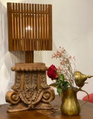 Carved Teak Pillar Lamp