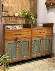 Distressed Carved Panel Cabinet