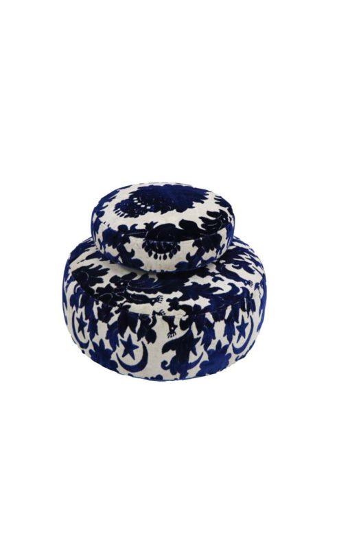 Velvet Upholstered Floor Cushions Two Piece Set